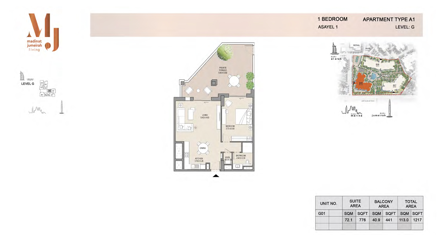 1 Bedroom Type A1, Level G, Size 1217 Sq Ft