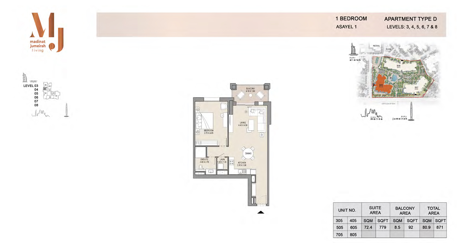 1 Bedroom Type D, Level 3 to 8, Size 871 Sq Ft