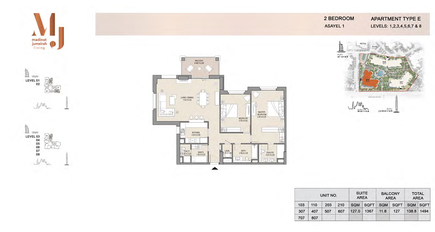 2 Bedroom Type E, Level 1 to 8, Size 1494 Sq Ft