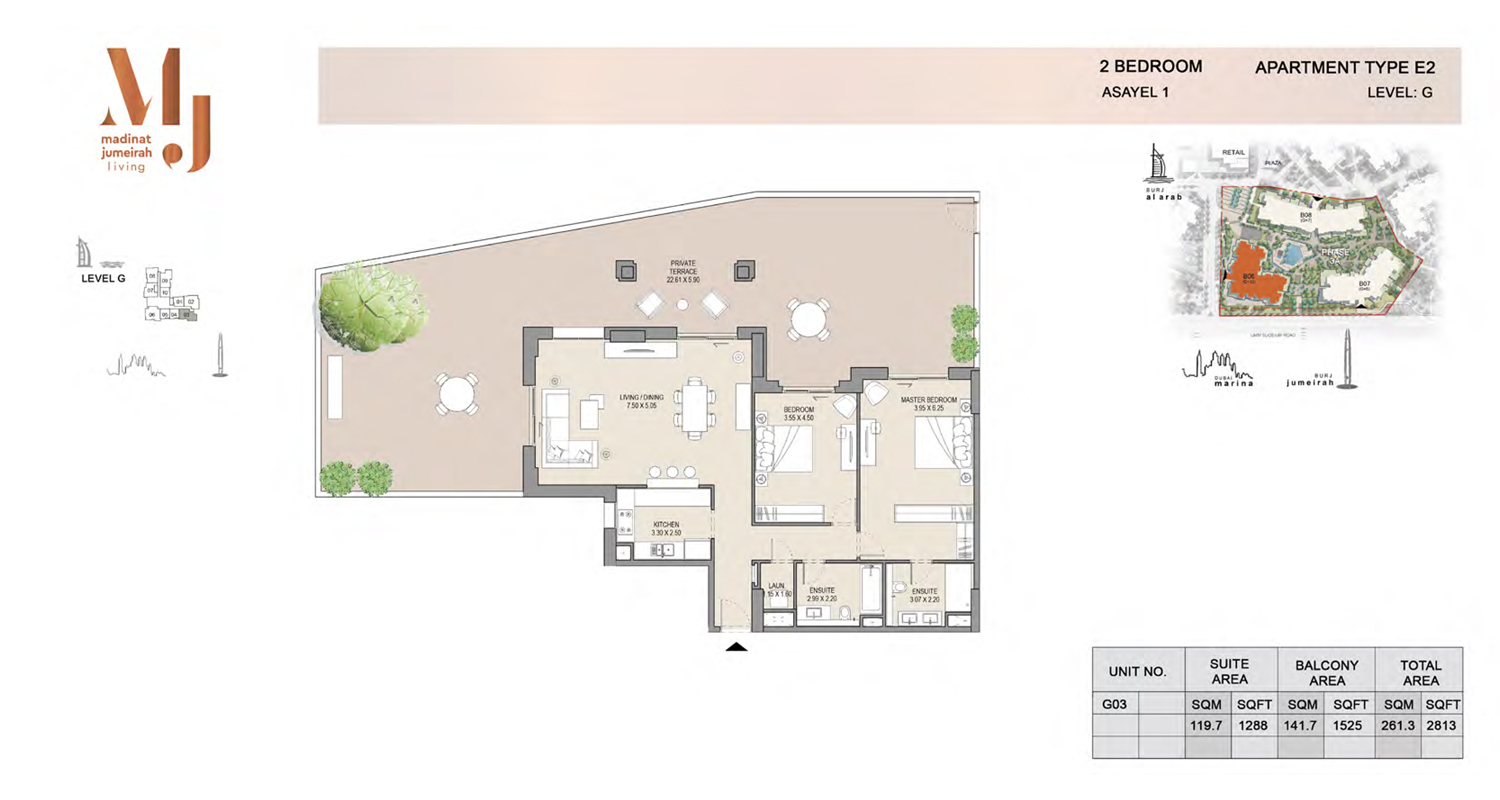 2 Bedroom Type E2, Level G, Size 2813 Sq Ft