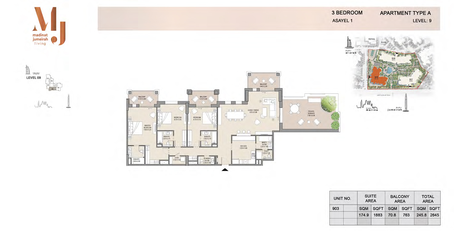 3 Bedroom Type A, Level 9, Size 2645 Sq Ft