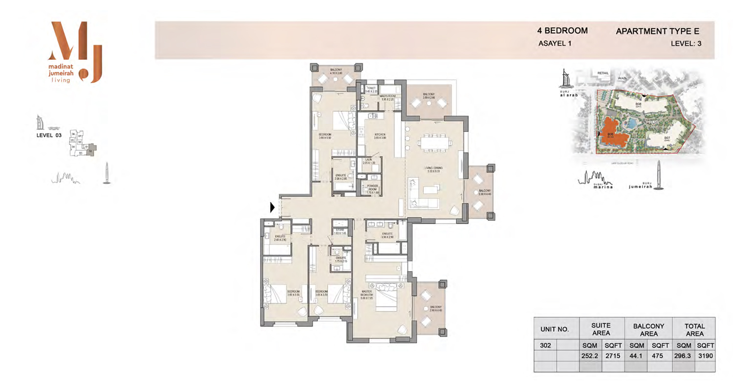 4 Bedroom Type E, Level 3, Size 3190 Sq Ft