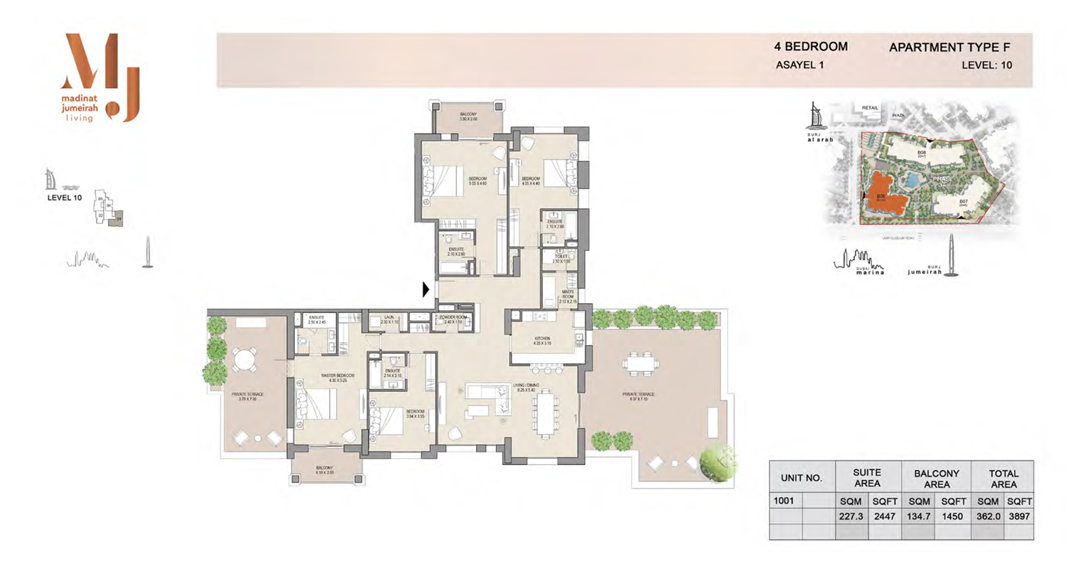 4 Bedroom Type F, Level 10, Size 3897 Sq Ft