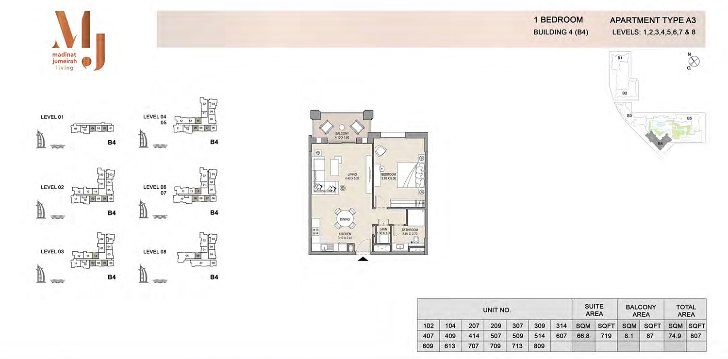 Building4, 1 Bedroom, Level 1 to 8, Type-A3, 807 Sqft