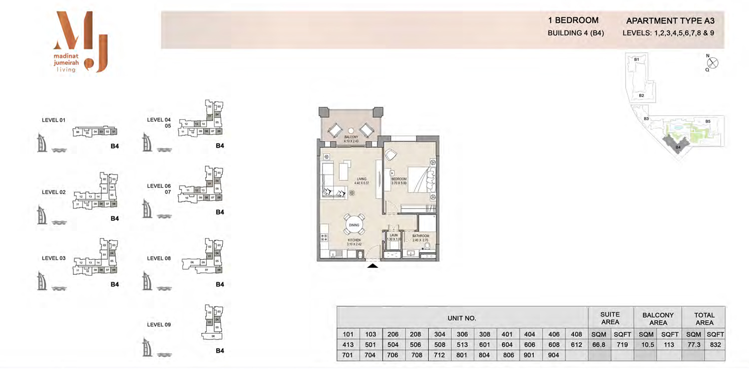 Building4, 1 Bedroom, Level 1 to 9, Type-A3, 832 Sqft