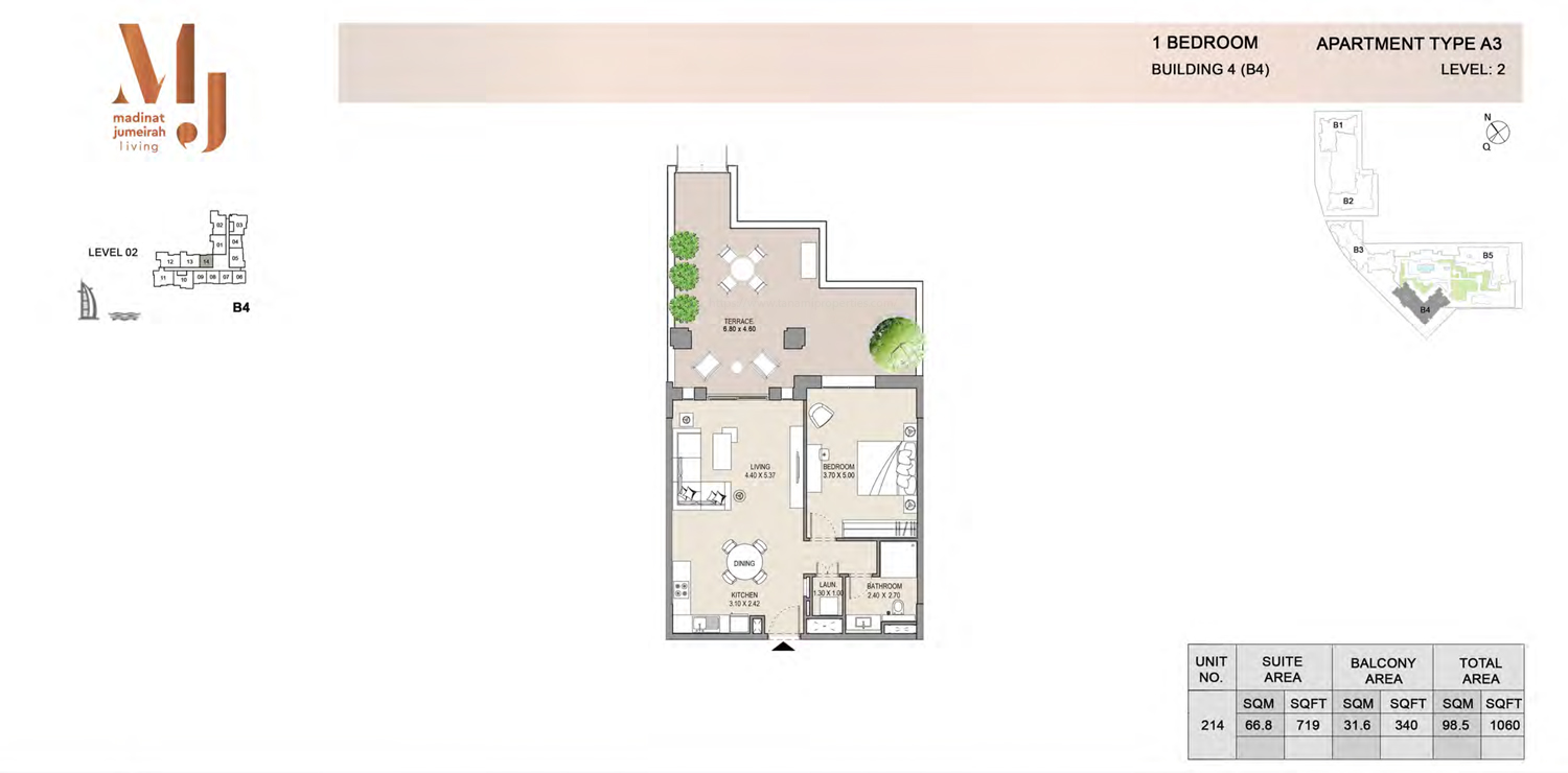 Building4, 1 Bedroom, Level 2, Type-A3, 1060 Sqft