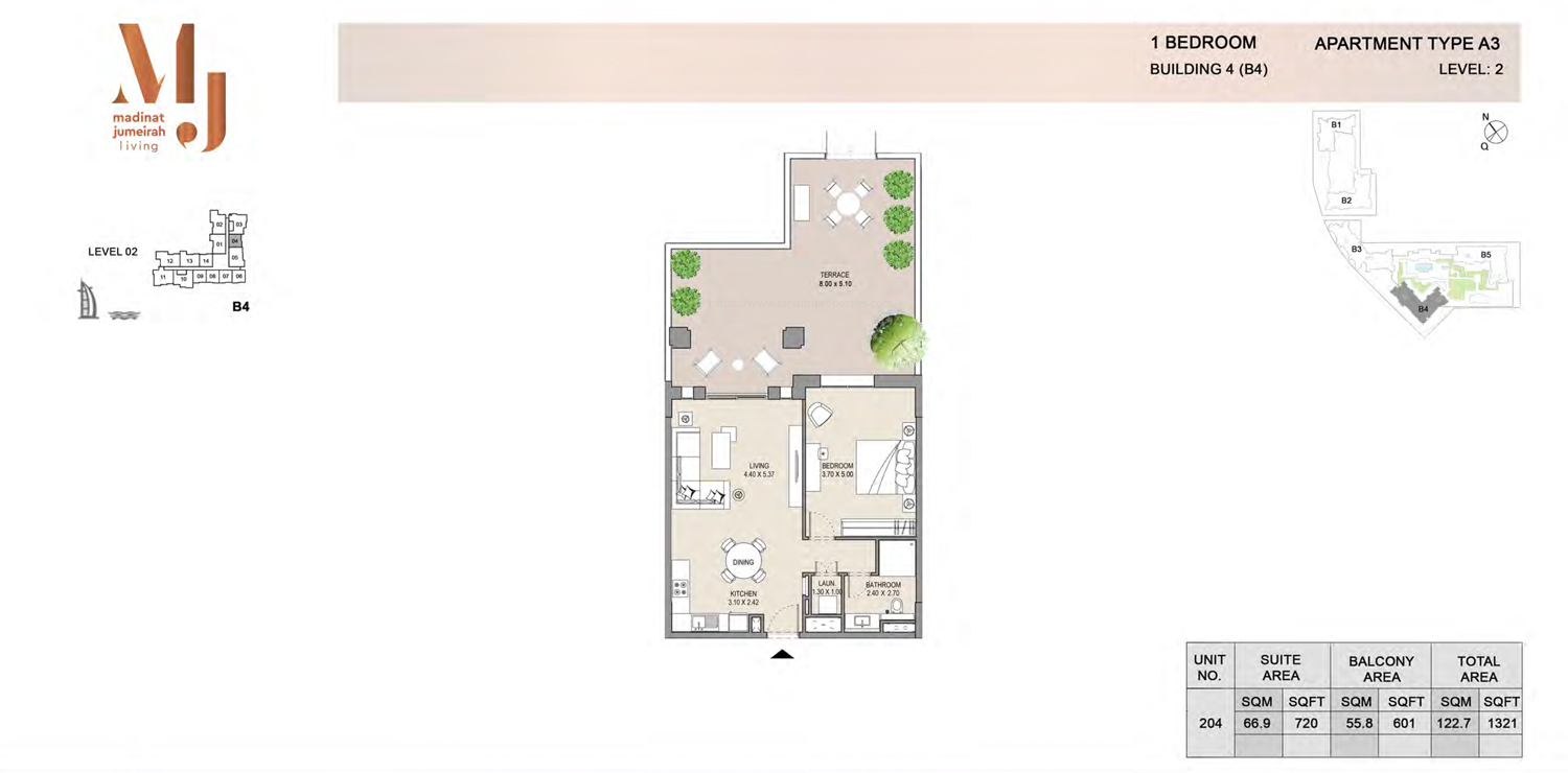 Building4, 1 Bedroom, Level 1 to 9, Type-A3, 1321 Sqft