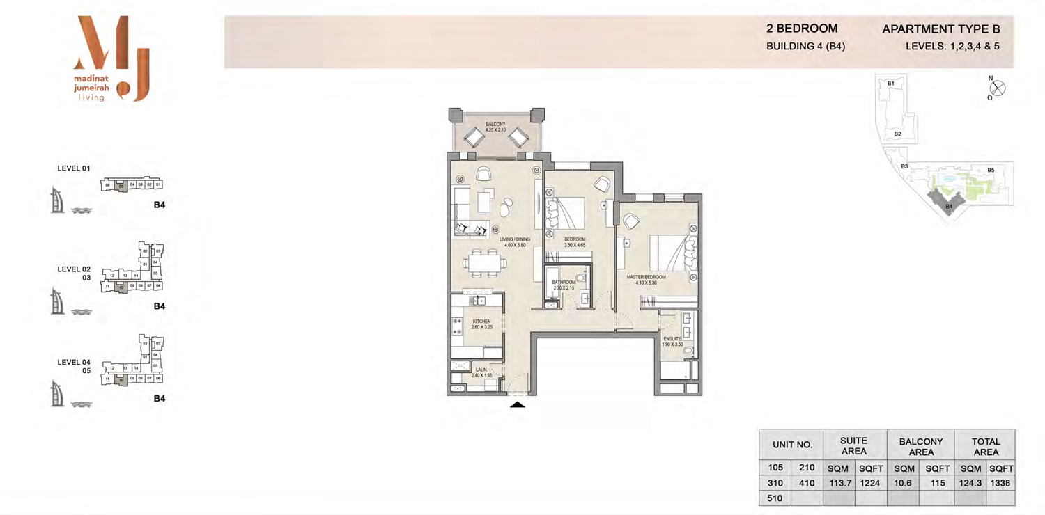 Building4, 2 Bedroom, Level 1 to 5, Type-B, 1338 Sqft