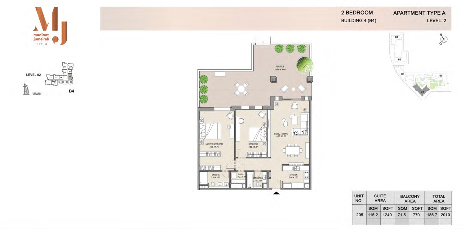 Building4, 2 Bedroom, Level 2, Type-A, 2010 Sqft
