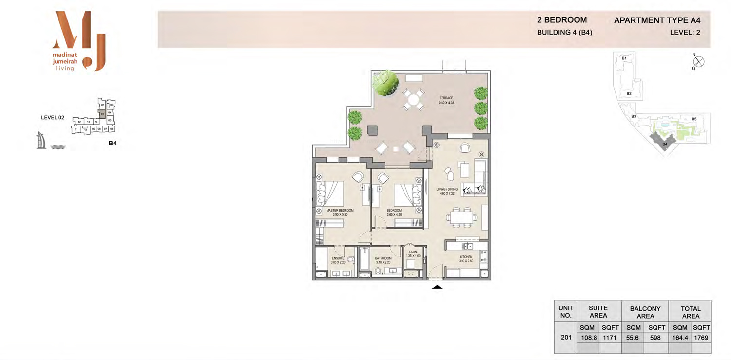 Building4, 2 Bedroom, Level 2, Type-A4, 1769 Sqft