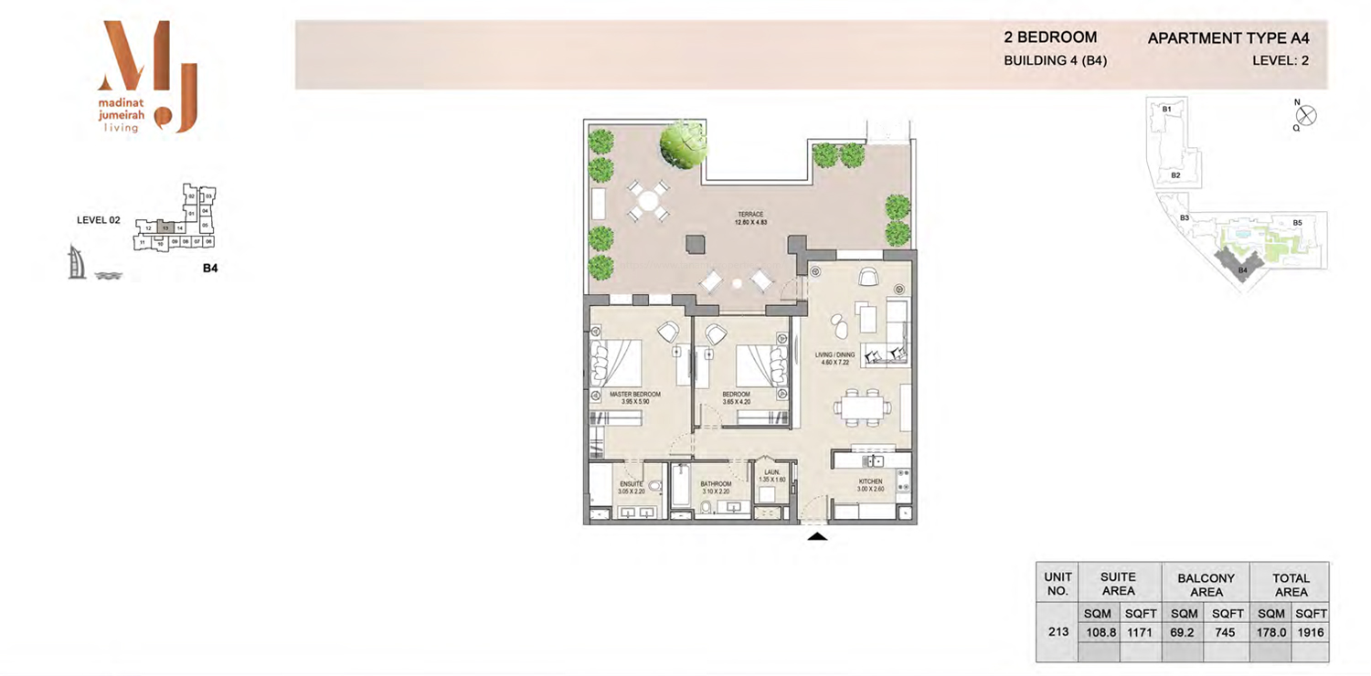 Building4, 2 Bedroom, Level 2, Type-A4, 1916 Sqft