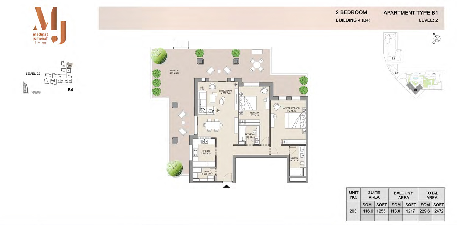 Building4, 2 Bedroom, Level 2, Type-B1, 2472 Sqft