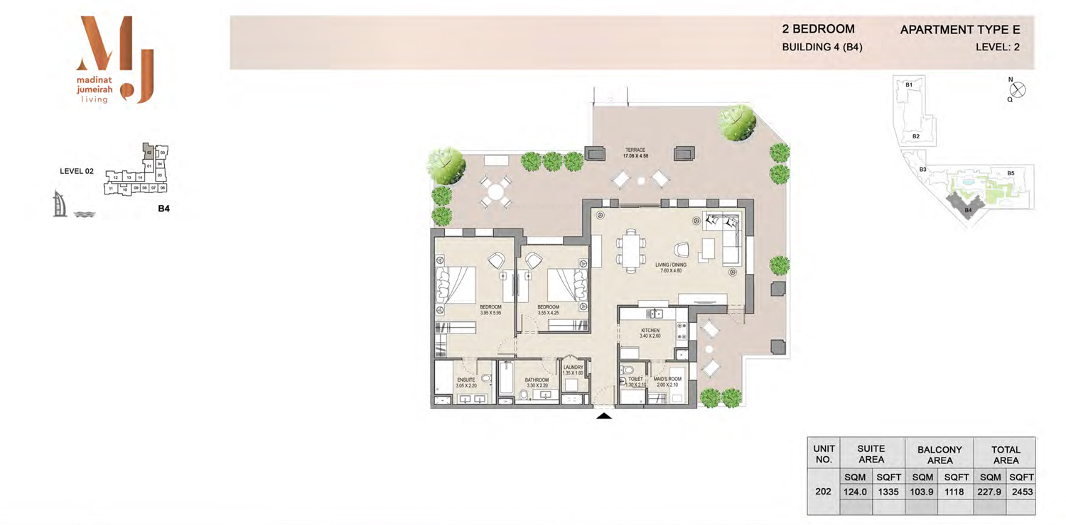 Building4, 2 Bedroom, Level 2, Type-E, 2453 Sqft