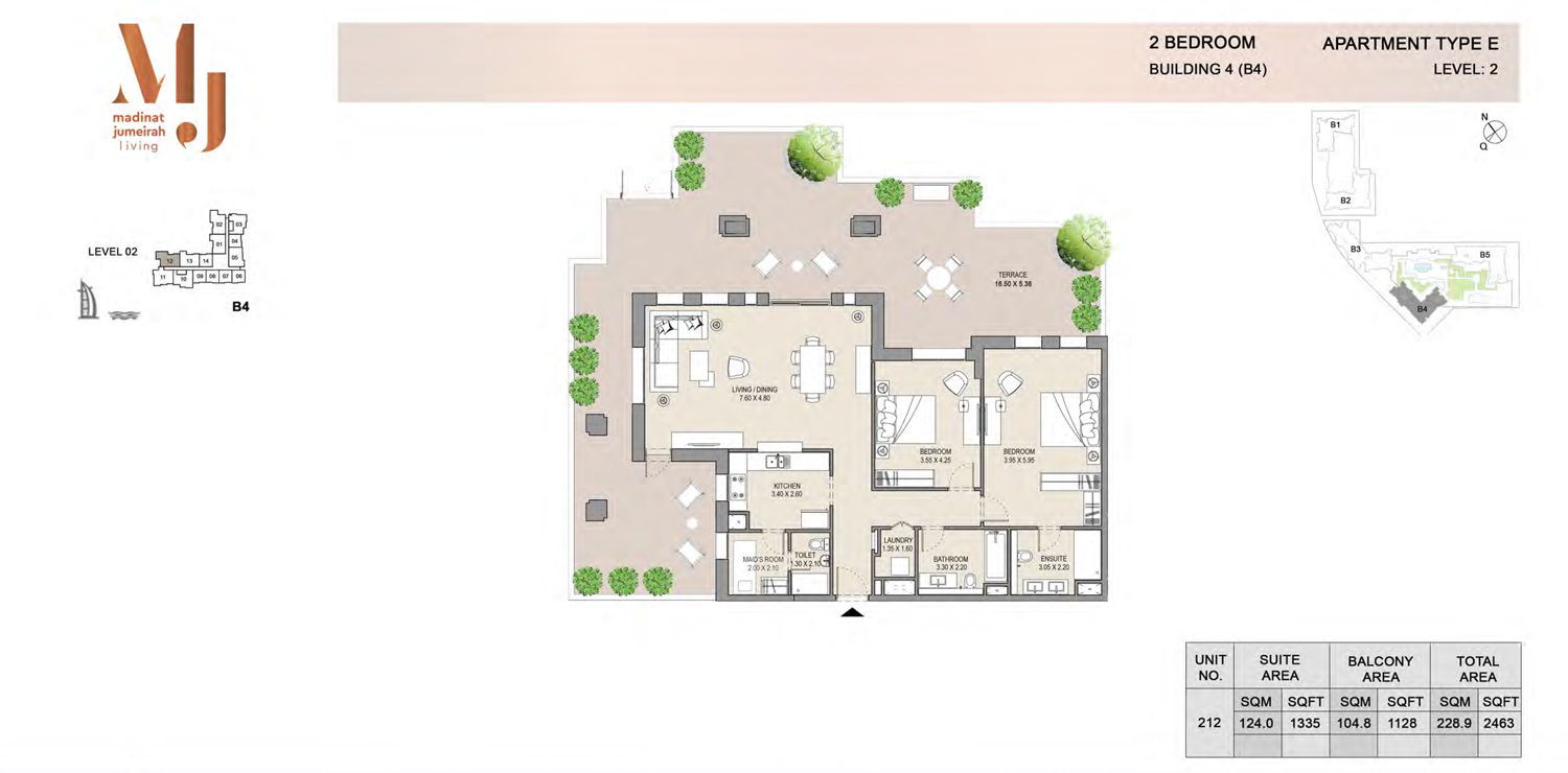 Building4, 2 Bedroom, Level 2, Type-E, 2463 Sqft