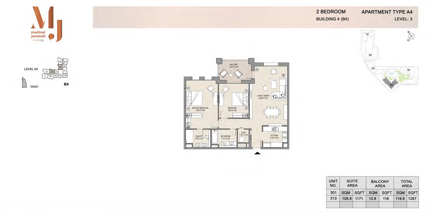 Building4, 2 Bedroom, Level 3, Type-A4, 1287 Sqft