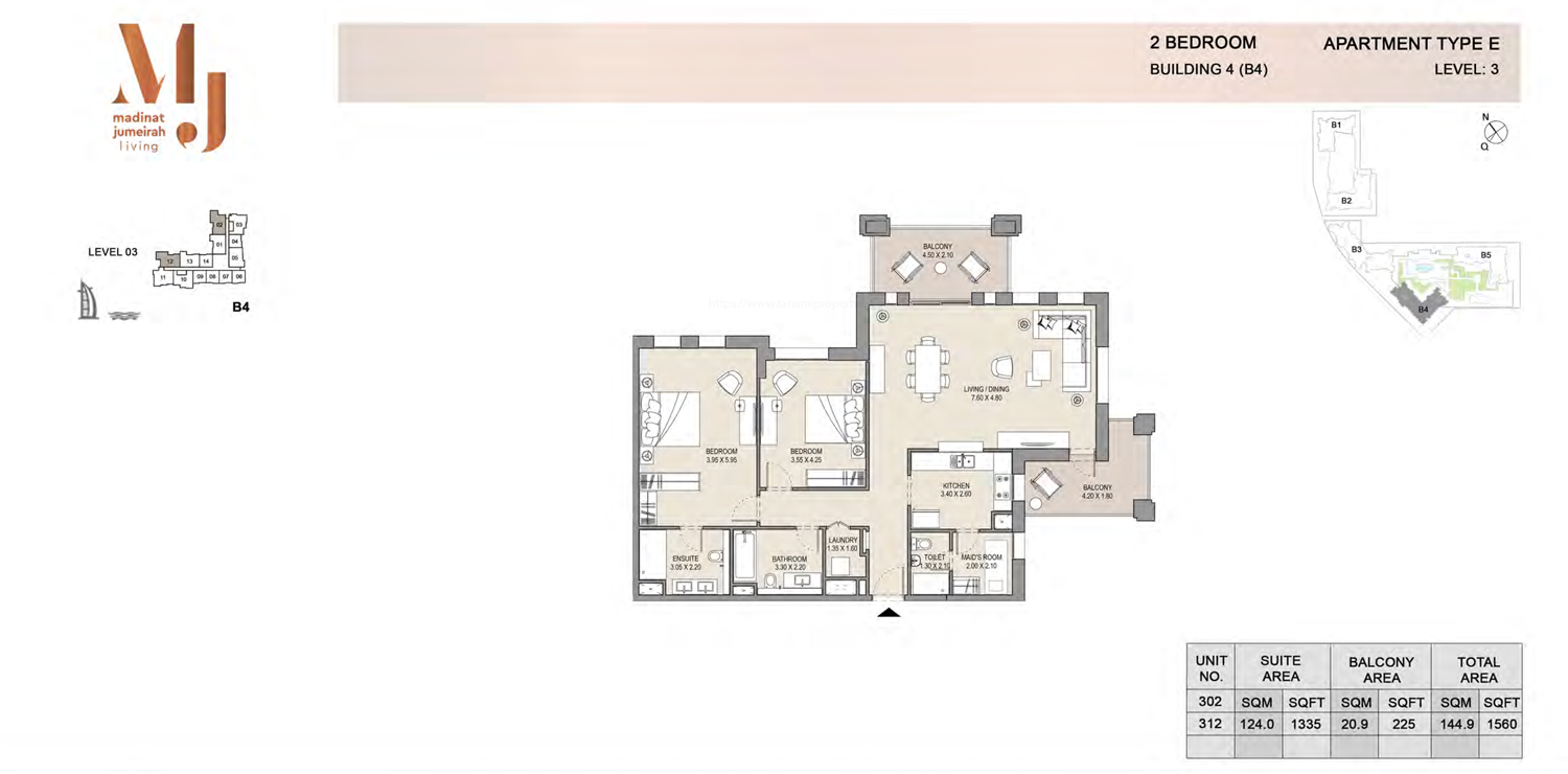 Building4, 2 Bedroom, Level 3, Type-E, 1560 Sqft