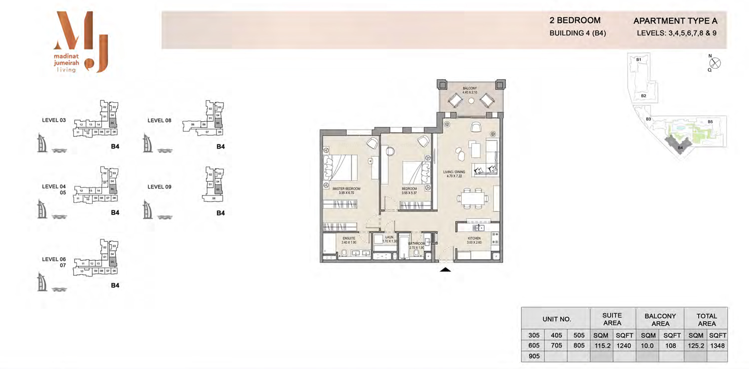 Building4, 2 Bedroom, Level 3 to 9, Type-A, 1348 Sqft