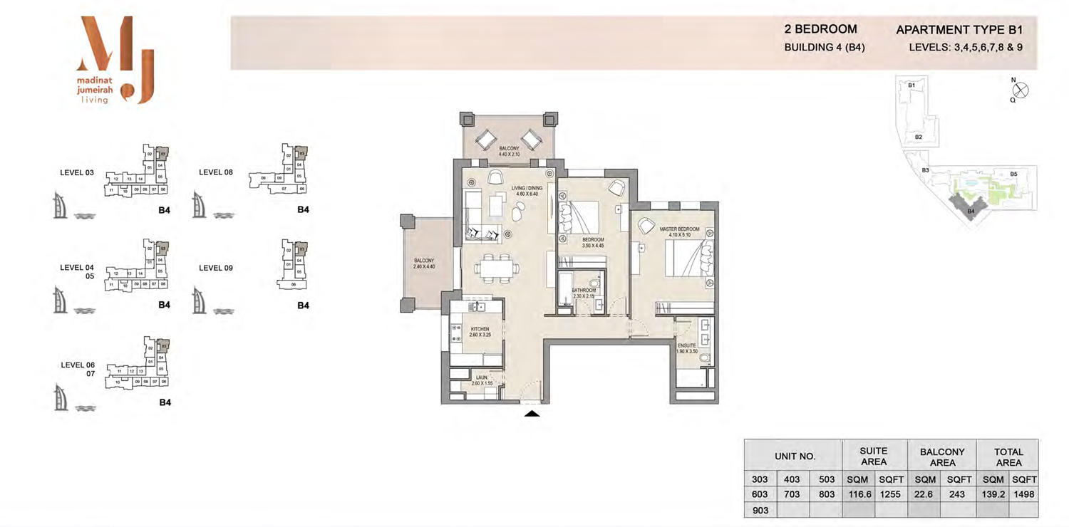 Building4, 2 Bedroom, Level 3 to 9, Type-B1, 1498 Sqft