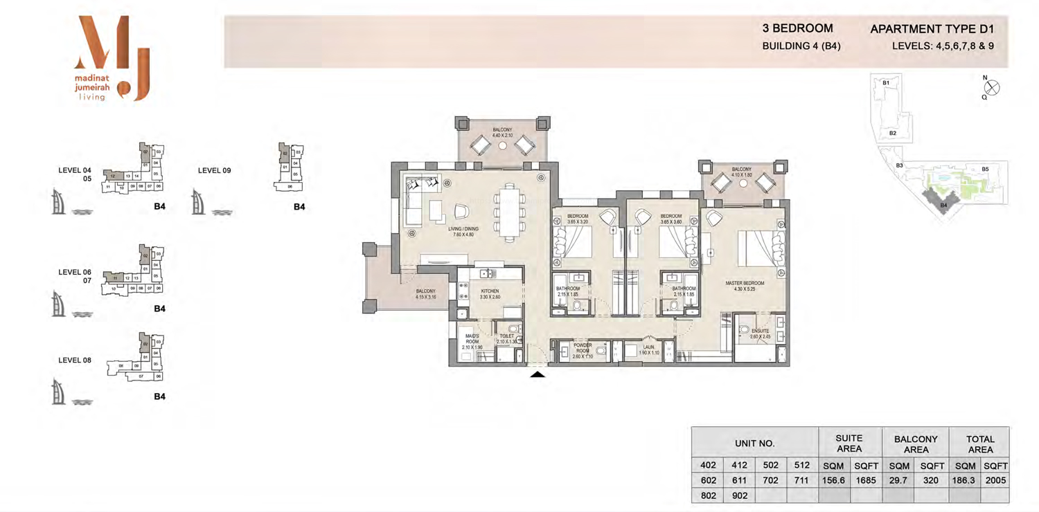 Building4, 3 Bedroom, Level 4 to 9, Type-D1, 2005 Sqft