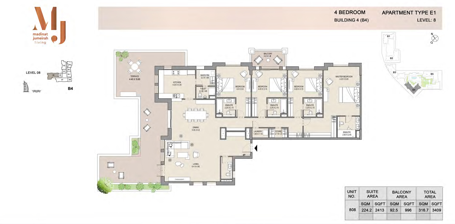 Building4, 4 Bedroom, Level 8, Type-E1, 3409 Sqft