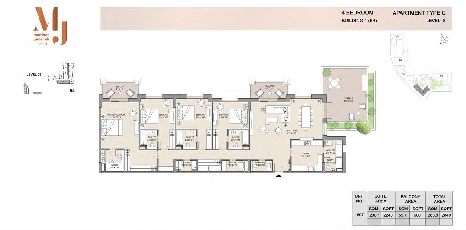 Building4, 4 Bedroom, Level 8, Type-G, 2840 Sqft