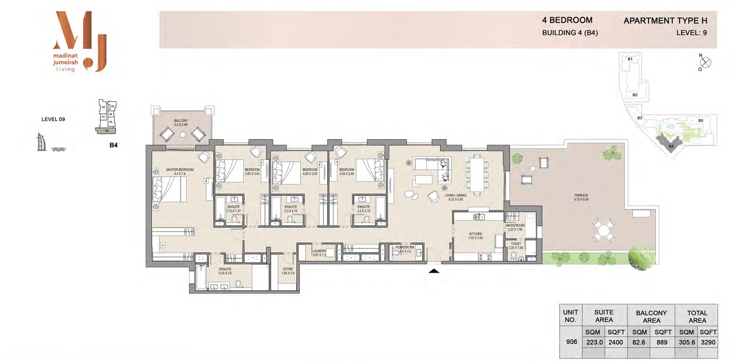 Building4, 4 Bedroom, Level 9, Type-H, 3290 Sqft